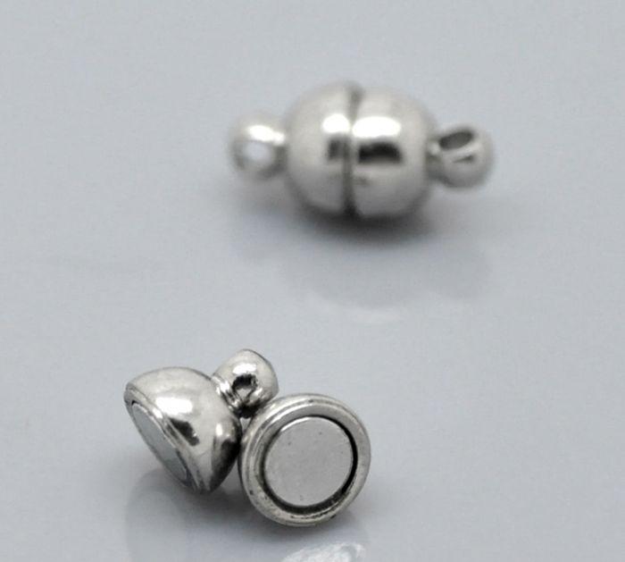 DoreenBeads 10 Sets Silver Tone Magnetic Clasps 12x6mm(4/8x2/8)DoreenBeads 10 Sets Silver Tone Magnetic Clasps 12x6mm(4/8x2/8)