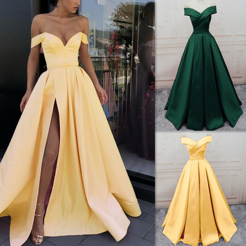 Simple Off the Shoulder V-neck Neckline   Prom     Dress   A-line Split Evening   Dress   Comfortable Graduation Ball Group with Zipper Back