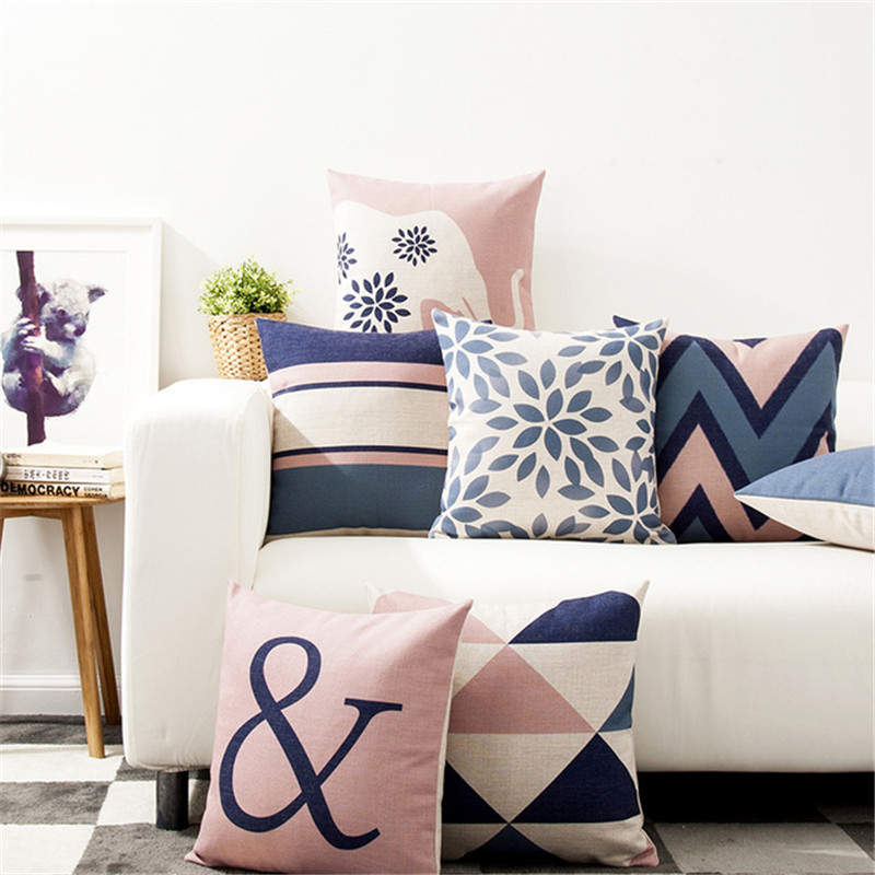 Nordic Design Cushion Cover Pink Blue Geometric Throw Pillowcase 45cmX45cm Color Decoration Home Office Car Bed Seat Pillow Case stylish green geometric vector pattern square shape flax pillowcase without pillow inner