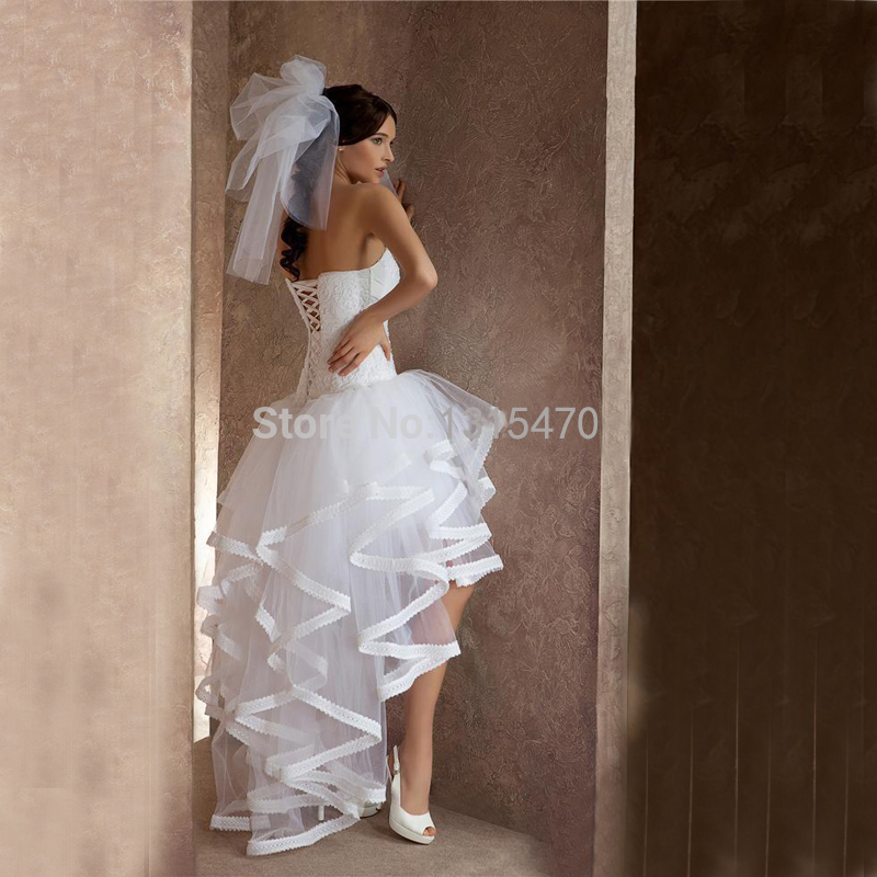 56e8b8f5136 Sexy Tulle Applique Strapless Short Beach Wedding Dresses With Hi Lo White  Bow A Line Vestidos De Novia Boho Bridal Gowns -in Wedding Dresses from  Weddings ...