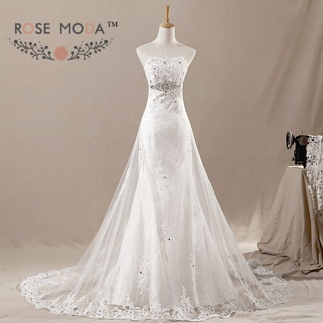 Encaje sirena vestido de novia con overskirt tulle Crystal SASH ...