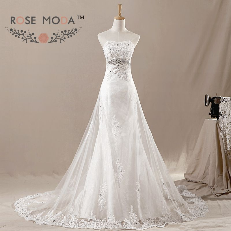 Lace Mermaid Wedding Dress with Tulle Overskirt Crystal Sash Lace Up Back Destination Bridal Gown Vestidos de Noiva Real Photos
