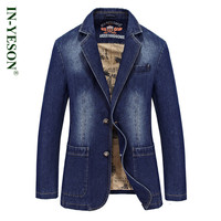 2016 New Fashion Brand Men Blazer IN YESON Slim Fit Jeans Suits Casual Jeans Suit Jacket Coat Mens Denim Jacket Blazer Suit Men