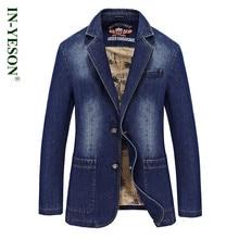 2016 New Fashion Brand Men Blazer IN-YESON Slim Fit Jeans Suits Casual Jeans Suit Jacket Coat Mens Denim Jacket Blazer Suit Men