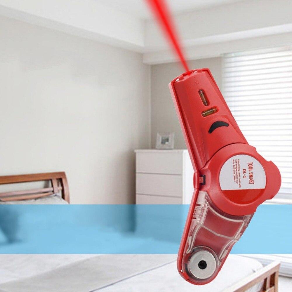 מכשיר איתור קו קידוח אדום מוציא קרן לייזר וברקע חדר שינה בצבעים בהירים