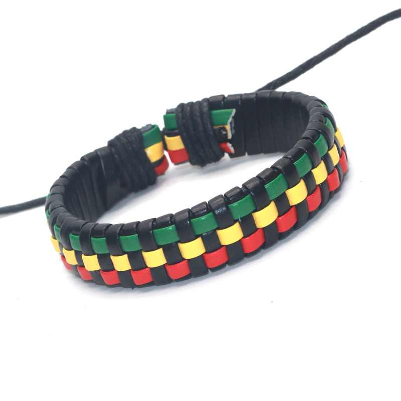 Fashion Leather Women's Bracelets Adjustable Braid Bracelet for Men Rasta Color Jewelry Bracelets