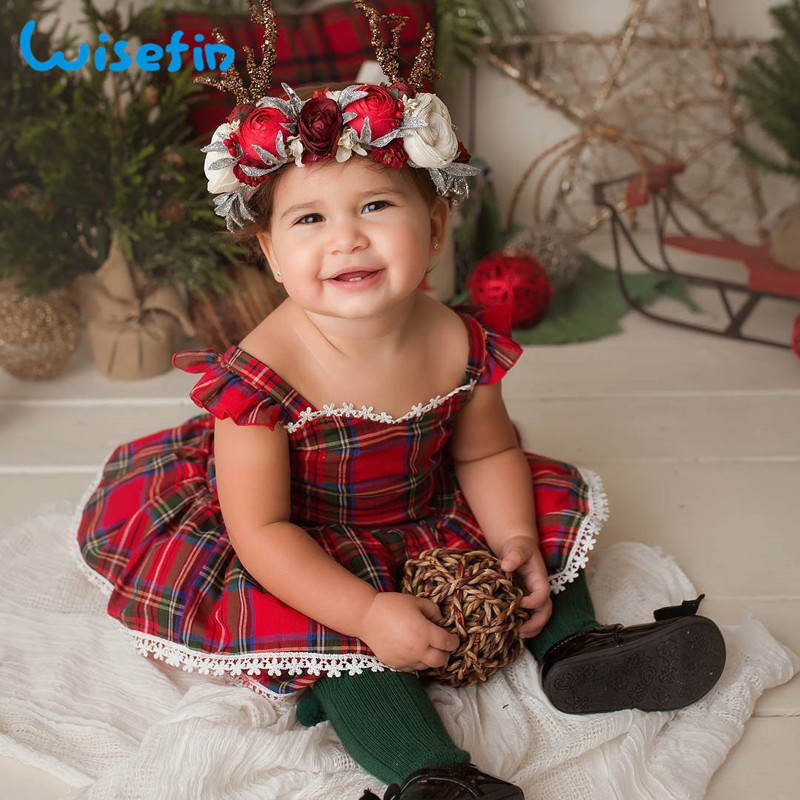 Wisefin Christmas Infant Baby Girl Clothes Set Red 2 Piece Newborn Girls Summer Clothing Set Ruffle Baby Girl Outfits Clothes wisefin baby christmas outfits long sleeve baby girl clothes set my first christmas girl cotton newborn bodysuit overalls skirts