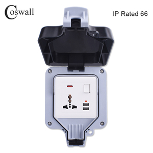 Image 2 - Coswall IP66 עמיד עמיד למים חיצוני תיבת קיר שקע חשמל 1 כנופיית אוניברסלי/תקן בריטי להעביר לשקע עם ניאון