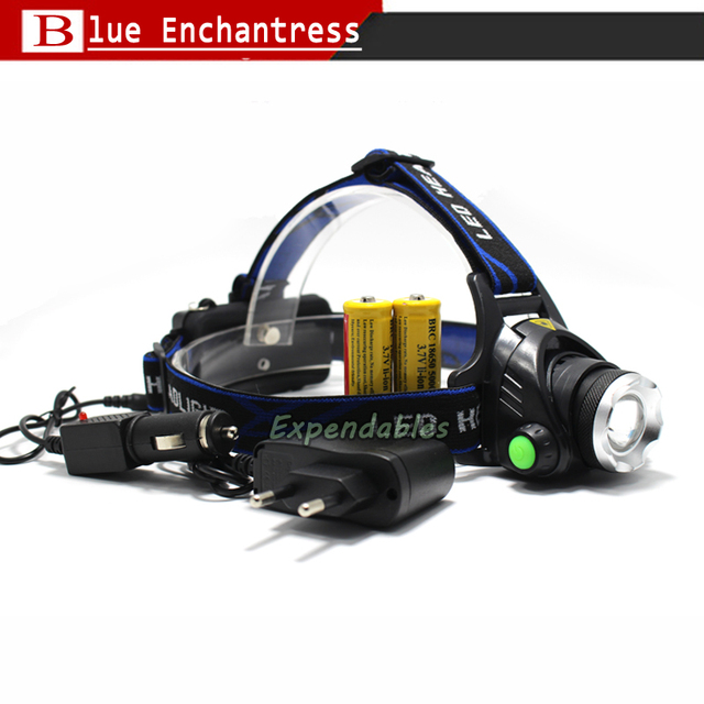 CREE XM-L XML T6 LED 3000 Lumens Zoom Rechargeable Headlight LED Headlamp CREE+2 x 18650 5000 mah Battery+AC/Car Charger