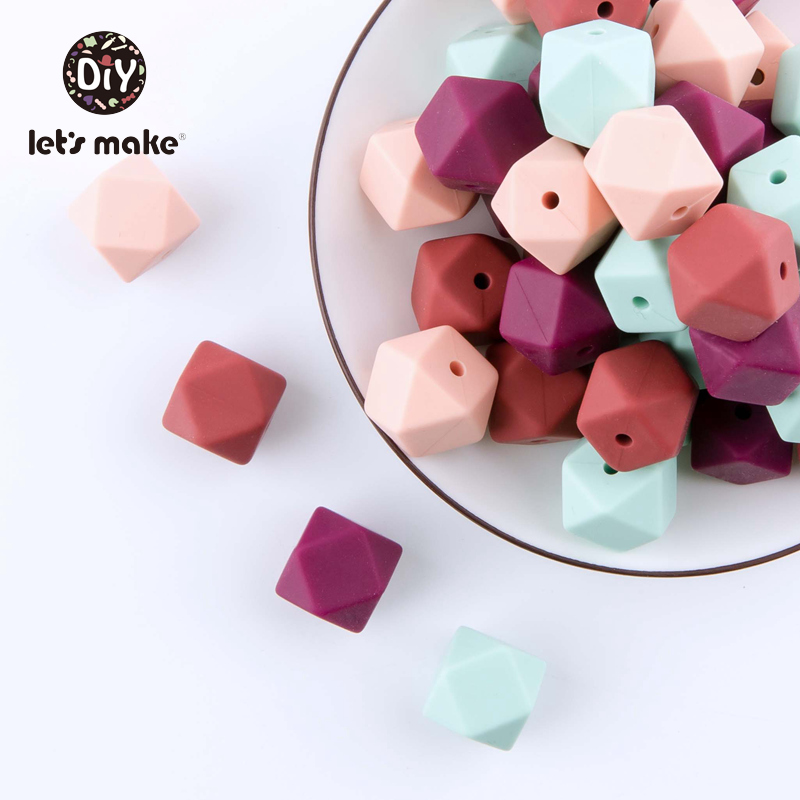 Let's Make Baby Teether Silicone Beads 10pc 14mm Hexagon Beads Rodent Food Grade Silicone DIY Teething Necklace Children Product