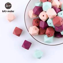 Let's Make Baby Teether Silicone Beads 10pc 14mm Hexagon Beads Rodent Food Grade Silicone DIY Teething Necklace Children Product let s make baby teether unfinished silicone hex beads set chewable food grade wooden beads diy teething necklace made beads