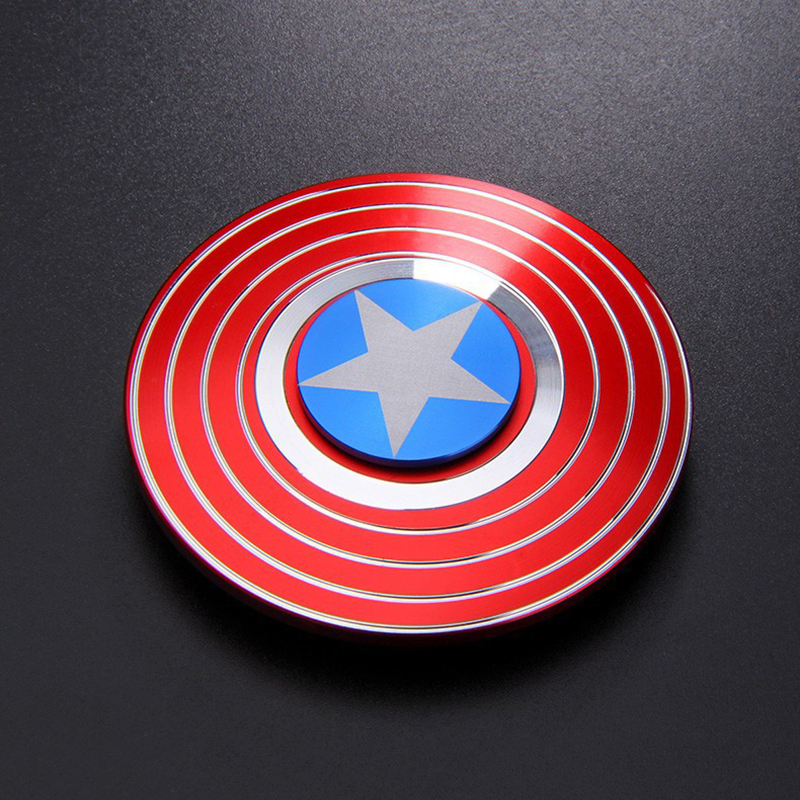 Metal Alloy Super Hero Fidget Spinner Captain America Shield Style Smooth Hand Spinners Gyro Toys For Kids Stress Relief Toys
