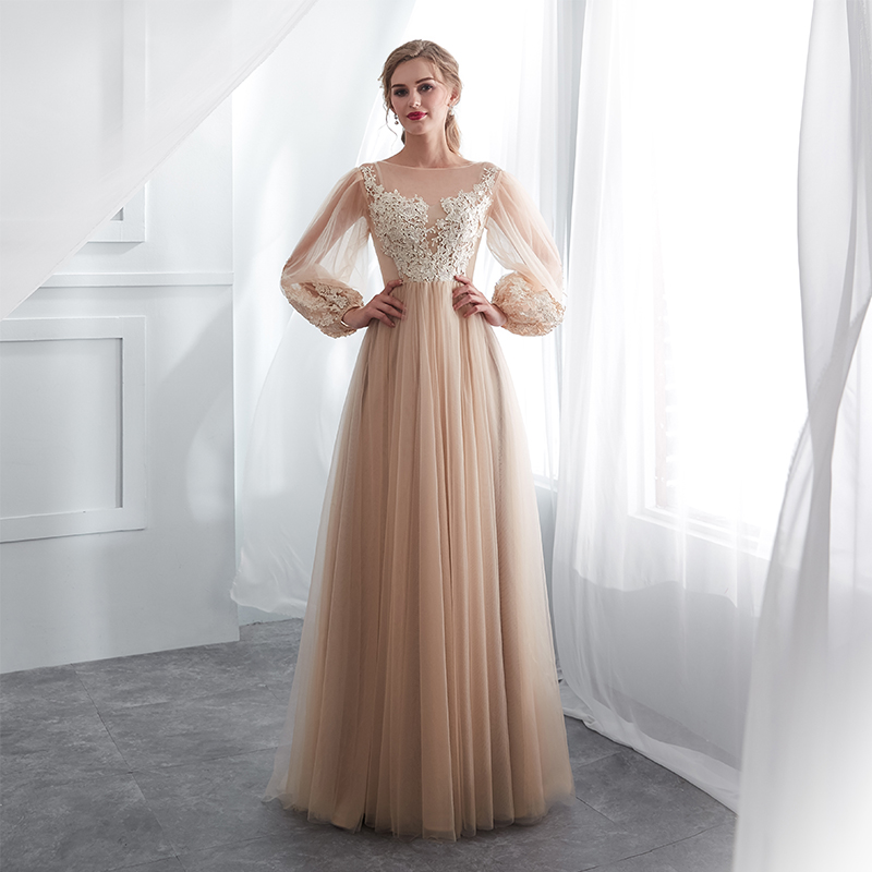 Champagne Prom Dresses Long Puff Sleeves Venice Lace Full Length Evening Dresses Party Gown Formal Dresses vestidos de gala