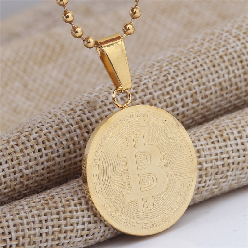 New Design Trendy Silver Gold Color Alloy Bitcoin Pendant Necklace For Women Men Jewelry Gift