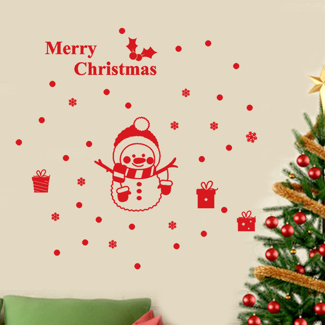 Christmas Wall Decals Removable.Aliexpress Com Buy Merry Christmas Wall Stickers Removable Snowman Snowflake Shop Window Decals Christmas Decorations For Home 2018 Ne925 From