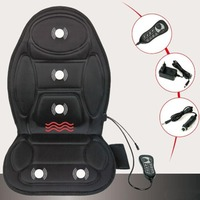 Black Polyester Cloth Massage Cushion Electric Heated Massager Vibration Soft Car Seat Cover Heating Chair Mat