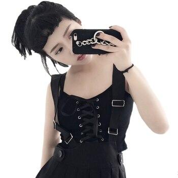 Koreański Lato Kobiety Slim Lace-up Narażone Pępek Krótki Top Tanks 2018 Harajuku Kobiety Na Co Dzień Czarny Osobowości Małe Sexy Tank Tops