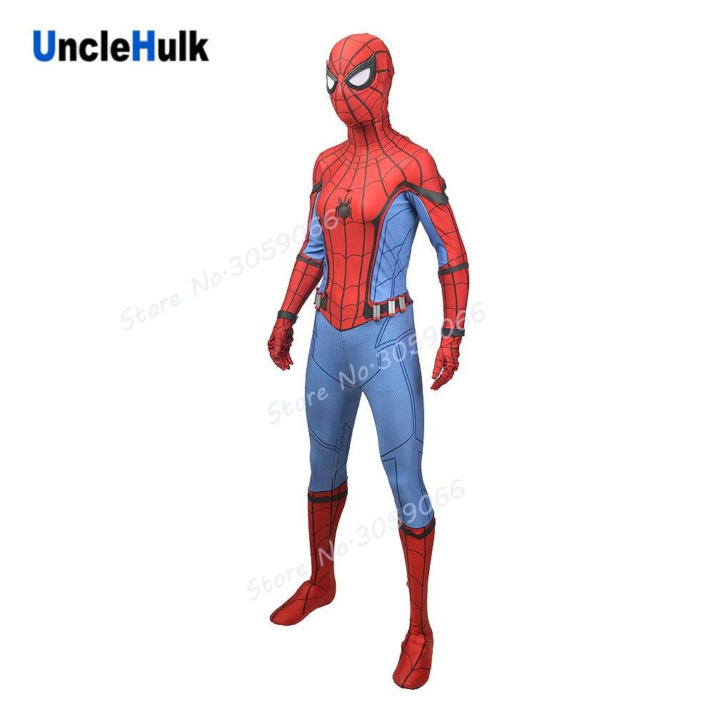 Superior Quality New Version Silk Screen Spiderman Homecoming Spandex Lycra Zentai Bodysuit Set   UncleHulk