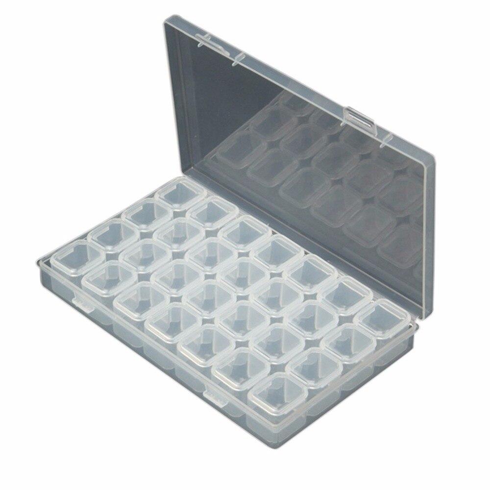 Hot vinde 28 Grid Multifuncțional Diamond Broderie Box Medicină - Organizarea și depozitarea în casă