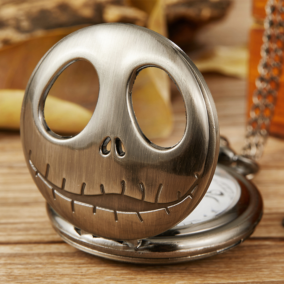 Bronze The Nightmare Before Christmas Quartz Pocket Watch Jack Skellington Watch With Fob Chain Pendent Necklace Women Men Gift