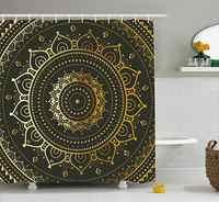 Золотая мандала, карта племени, символ духовной гармонии, азиатское искусство, набор занавесок для душа, ткань, занавеска для ванной, 3D