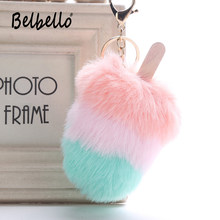 Multicolor Fur PomPom Plush Keychains Ice Cream Popsicle Pendant Creative Pompon Ball KeyRing For Girl Women Bag Car Accessories(China)