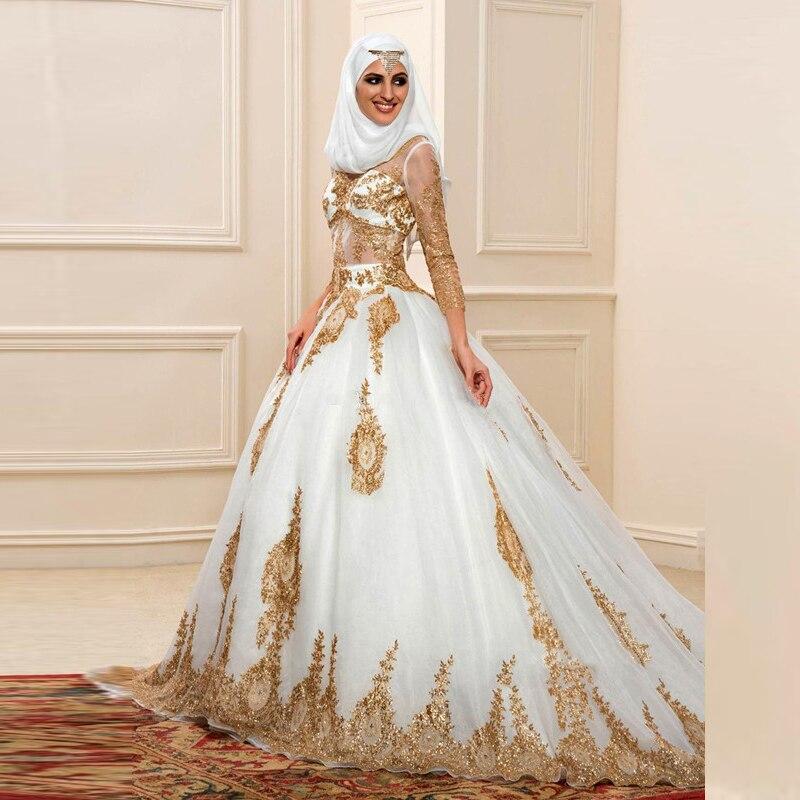 Luxe Gouden Kant Dubai Moslim Trouwjurk Met Hijab Baljurken