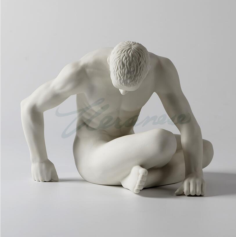 Modern Art Sculpture Handmade White Ceramic Sitting Man Body Statue