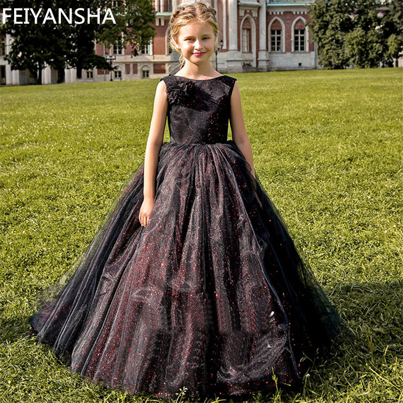 Flower     Girl     Dress   Black   Girls   Sleeveless Tulle Tutu Princess Pageant Birthday Porm Party Bridal   Dress   for Wedding