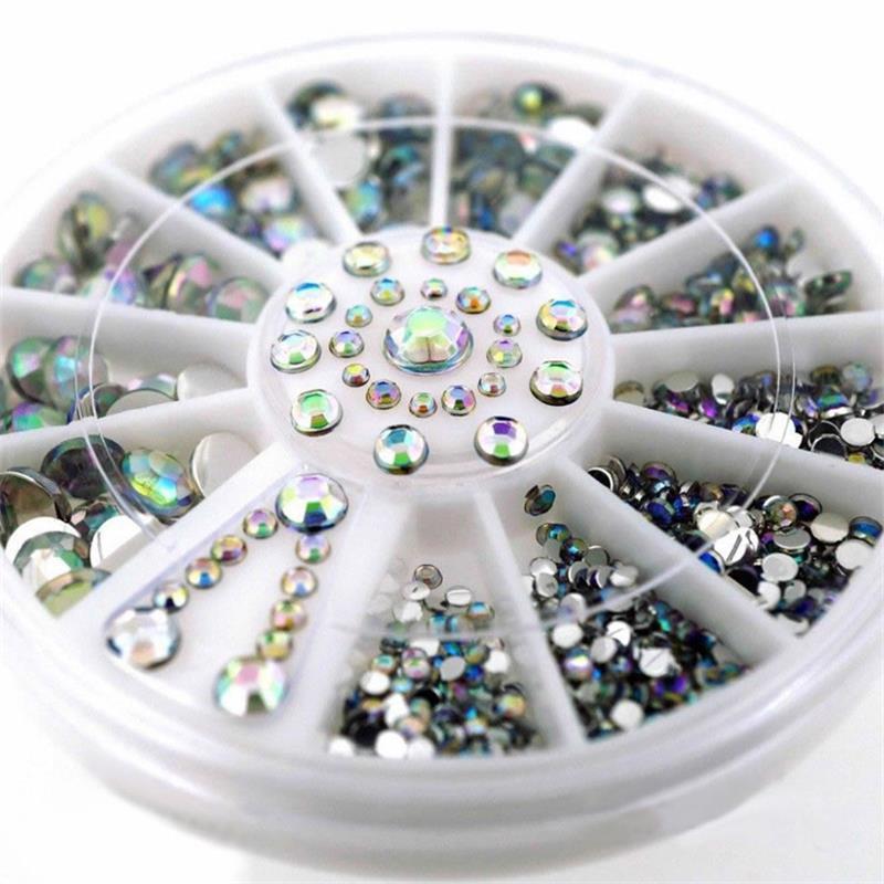 DIY Nail Art Wheel Tips Crystal Glitter Rhinestone 3D Nail Art Decoration white AB Color Acrylic Diamond Drill in Rhinestones Decorations from Beauty Health