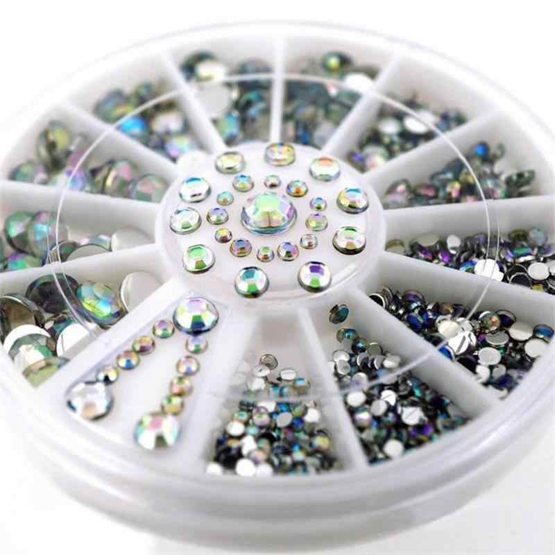 DIY Nail Art Wheel Tips Crystal Glitter Rhinestone 3D Nail Art Decoration white AB Color Acrylic Diamond Drill