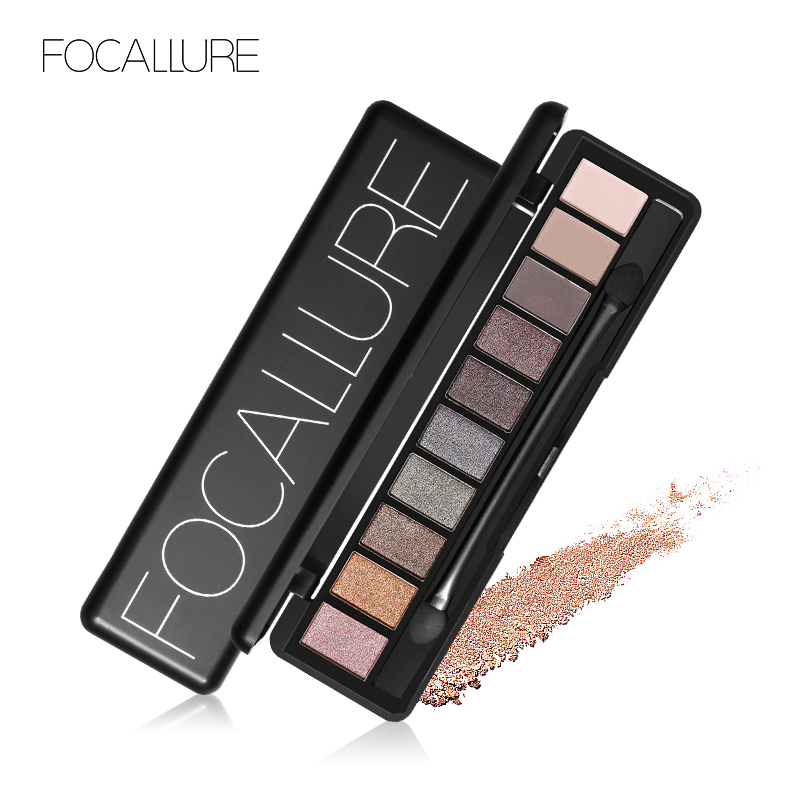 FOCALLURE New Pro 10 Colors Set Women Waterproof Makeup Eyeshadow Palette Eyebrow Eye Shadow Powder Cosmetic with Brush new arrival woman brand cosmetic makeup set multi function make up naked palette eyeshadow palette
