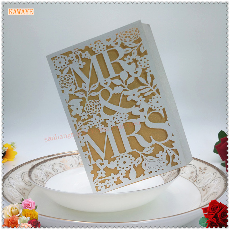 10Pcs Delicate Carved Romantic Wedding Party Invitation