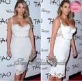 2014 kim kardashian Red Carpet vestido envoltura del amor de la cintura Natural Sexy cosecha encima de la rodilla longitud de dos piezas cordón de la celebridad vestidos
