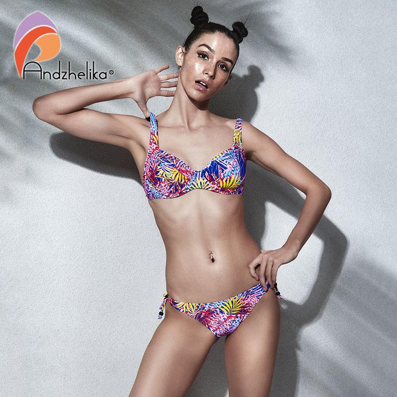 Andzhelika Bikini Women Swimsuit Sexy Flower Leaves Print Bikini Set Brazilian Swimwear Beach Soft cup Bathing Suit Biquini andzhelika bikini sexy women sequin bikini set summer brazilian swimsuit solid low waist swimwear beach bathing suit biquini