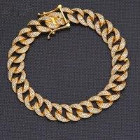High End человека полые цепи CZ 925 пробы серебряный браслет