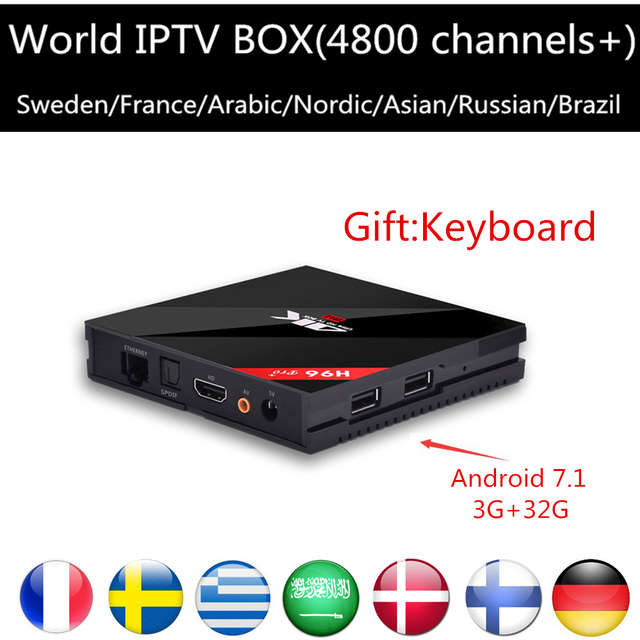 Android tv Iptv Box 7.1 H96 Pro+3G/32G Android Smart tv BOX HD+Frace UK Germany Sweden Europe Arabic iptv IPTV free shipping