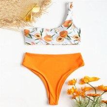 Women Bikini Set Swimwear Push-Up Padded Print Single Shoulder Swimsuit Beachwear   0630