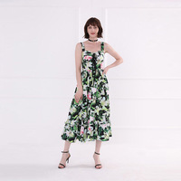 High quality 60% silk slip dress Chic floral print ruffles layered dress Women's summer party dress A311
