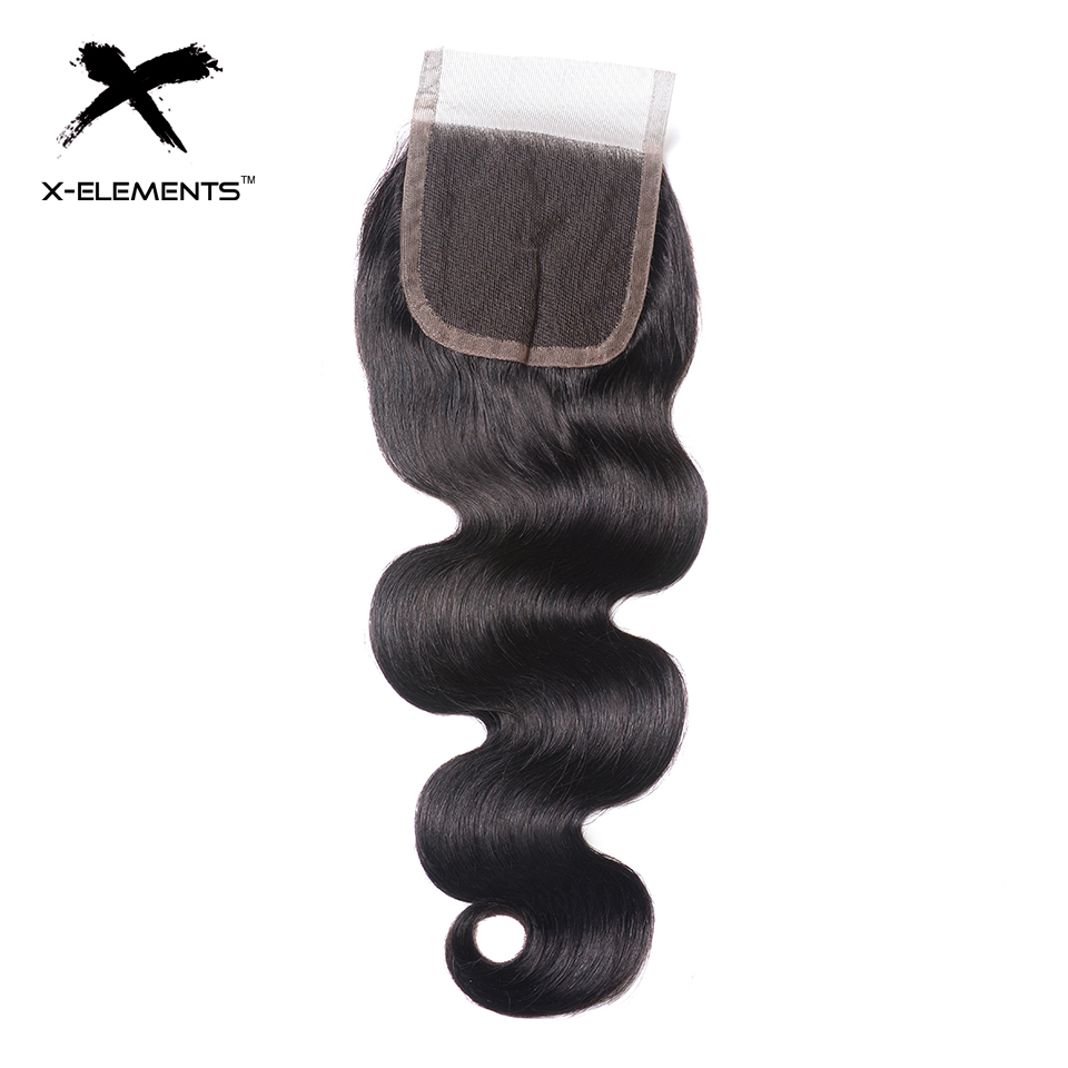 X-Elements Hair 4x4 Lace Closure Body Wave Hair Weaves Non-Remy Brazilian Human Hair Extensions Natural Color Swiss Lace Closure (6)