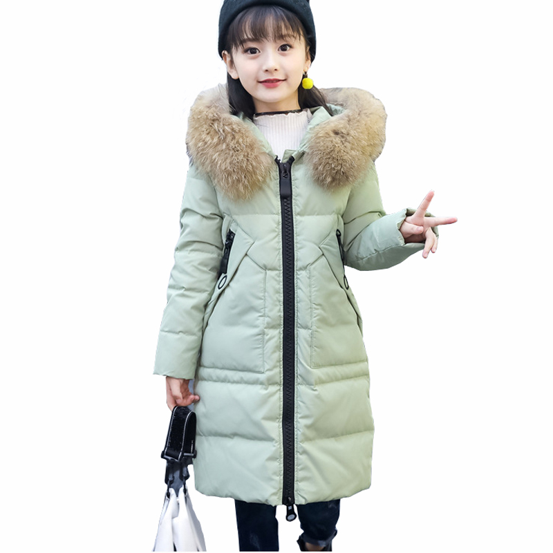 Children's clothing girl down jacket 2018 new winter coat for girls long warm fur collar hooded teenage girls outerwear RT201 tnlnzhyn women s clothing new new winter big yards women jacket coat hooded fur collar cotton thicken long female outerwear wu03