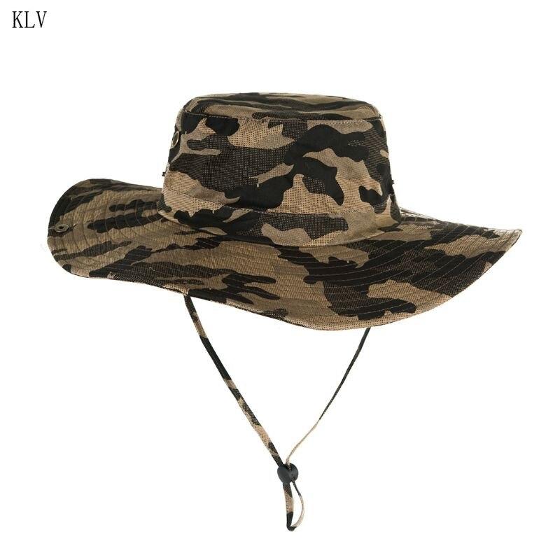 Outdoor Camo Bucket Hat Camouflage Bionic Wide Brim Panama Distress Jungle Deciduous Leaves Hiking Fishing Cap