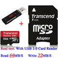Brand Real Transcend 16GB 32GB 64GB MicroSD Micro SDXC Micro SD Card 45MB/S class 10 UHS-1 TF Memory Card + USB 3.0 Card Reader