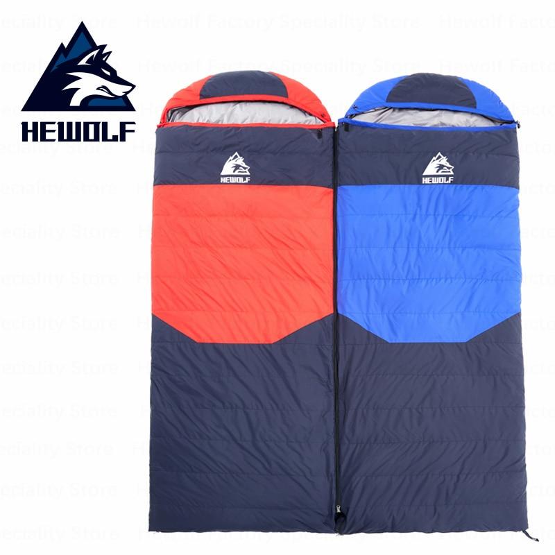 Hewolf Camping Winter Sleeping Bag Envelope Duck Down Thickening Camping Sleeping Bag Splicing Sleeping Bag Winproof