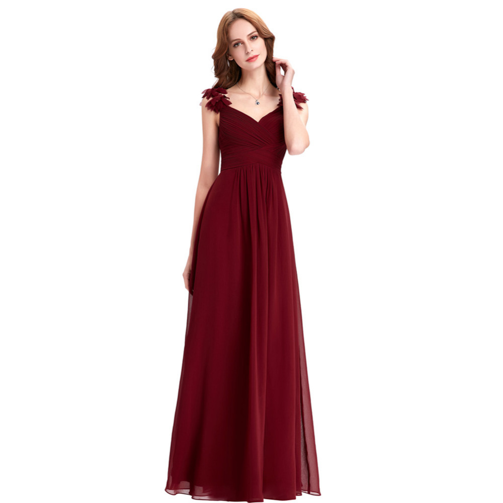 Bridesmaid dresses long chiffon applique prom dresses cheap floor bridesmaid dresses long chiffon applique prom dresses cheap floor length wedding bridesmaid gown formal burgundy dress 2017 in bridesmaid dresses from ombrellifo Gallery