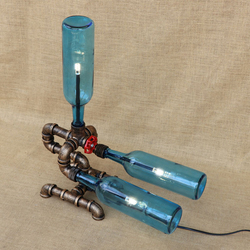 Szkło vintage butelka abażur lampka na biurko zawierać G4 żarówka niepowtarzalny styl stół lampa do sypialni lampki nocne biuro studium 220 V