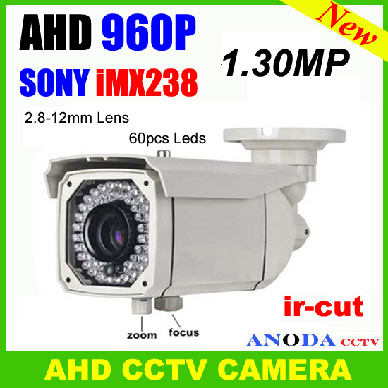 Excellent picture quality <font><b>IR</b></font>-cut <font><b>Motion</b></font> sensor OSD 2.8-12mm varifocal lens 60pcs <font><b>Leds</b></font> 1.3MP AHD 960P Bullet CCTV Camera