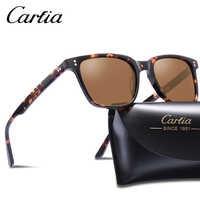 Carfia ยี่ห้อ Designer HD แว่นตากันแดด Vintage Polarized ผู้ชายสแควร์ขับรถแว่นตาแฟชั่น Retro แว่นตากันแดดป้องกันรังสี UV 100%