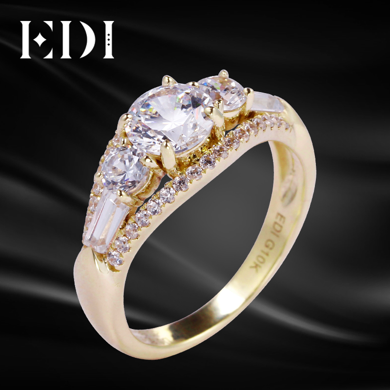 EDI Luxurious Engagement Ring 10K Yellow Gold 1.87cttw Moissanites Lab Grown Diamond Rings To Women Five Diamond Ring Jewelry aeaw lab grown diamond moissanites engagement bangle solid 10k white gold bracelets for women wedding fine jewelry