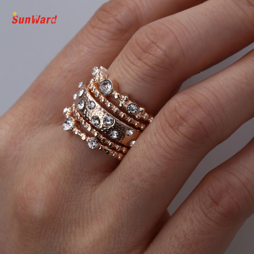 OTOKY 5PCS Beautiful Stacked Rings Rose Gold Sparkly Rings Size 6 7 8 9 10 Perfect For gorgeous Hands